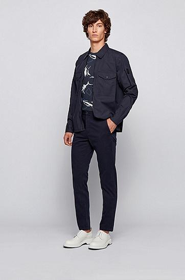 竹节棉鲨鱼印花 T 恤,  404_暗蓝色