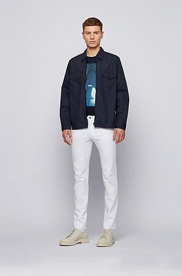 饰有水下场景印花的棉质平纹针织 T 恤,  404_暗蓝色