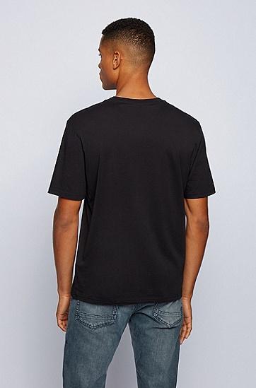 大白鲨印花皮马棉宽松休闲 T 恤,  001_黑色