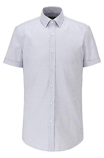 结构纹理易烫棉修身衬衫,  410_海军蓝色