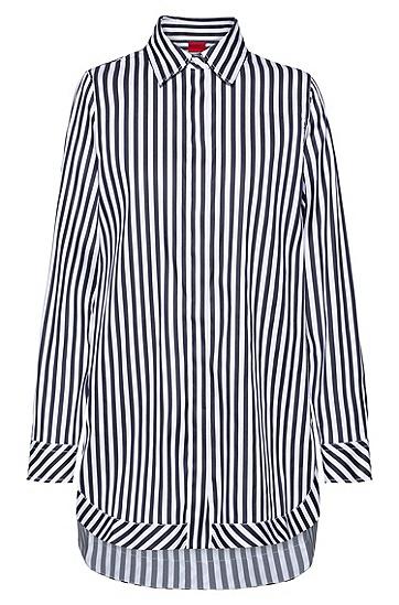 条纹图案弹力棉绸缎超大款女士衬衫,  464_淡蓝色