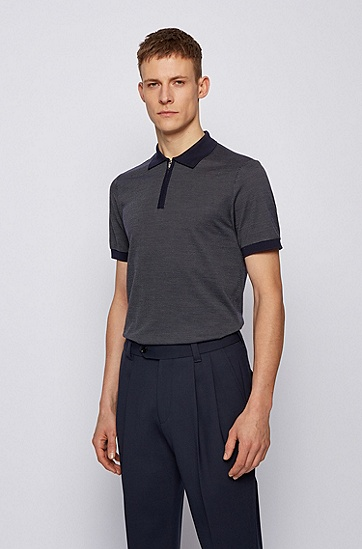 棉质丝绸混纺面料拉链领 Polo 衫,  402_暗蓝色