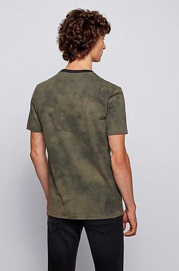饰有板印徽标和迷彩印花图案的皮马棉 T 恤,  342_淡绿色