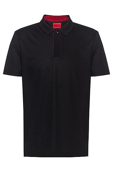 包覆式衣襟棉质混纺 Polo 衫,  001_黑色
