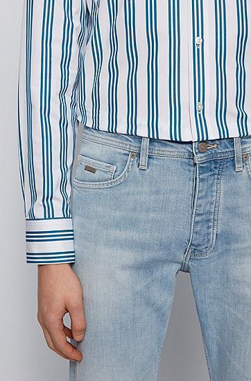漂洗处理舒适弹力锥形牛仔裤,  438_亮蓝色