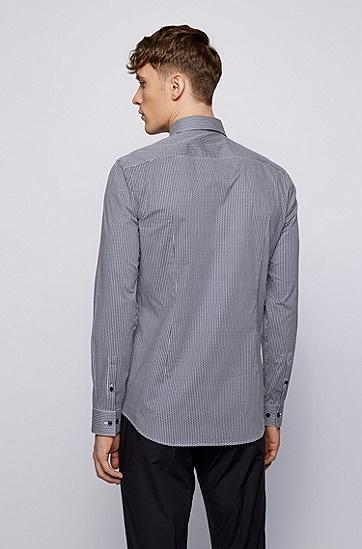 几何图案印花弹力棉修身衬衫,  410_海军蓝色