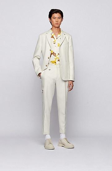 迷彩印花意大利棉府绸宽松版型衬衫,  736_亮黄色