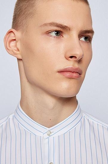 修身版立领条纹衬衫,  453_浅蓝色