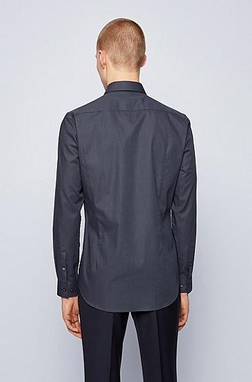 微点图案弹力棉斜纹布修身衬衫,  402_暗蓝色