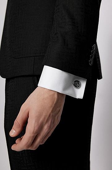 交织字母蚀刻装饰抛光黄铜圆形袖扣,  040_银灰色