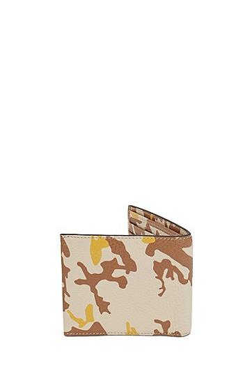 意大利粒面皮革迷彩印花钱包,  276_浅米色