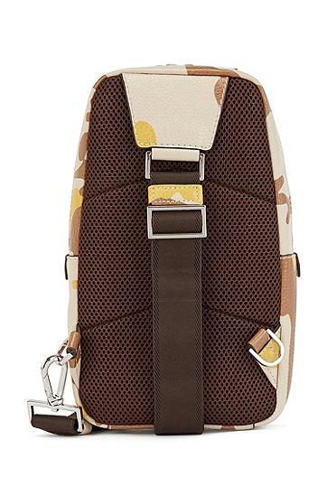 迷彩印花意大利皮革单肩背包,  276_浅米色