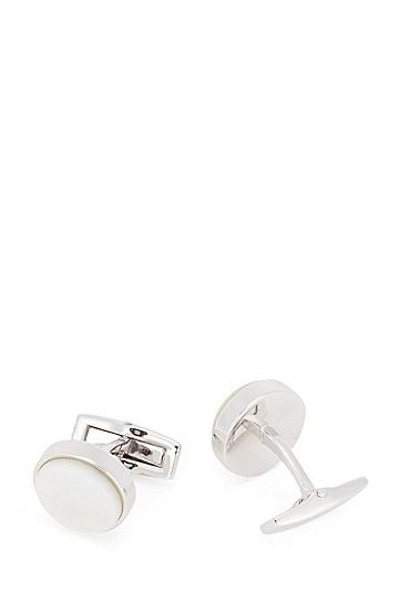 饰有珍珠母贝细节装饰的圆形袖扣,  100_白色