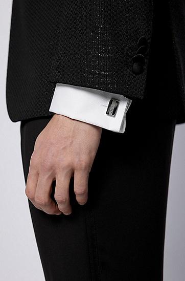 蚀刻徽标设计抛光金属袖扣,  040_银灰色