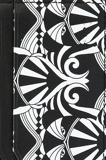 图案印花皮革钱包卡包礼物套装,  001_黑色