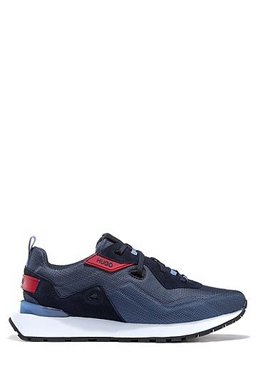 麂皮网眼复古风运动鞋,  460_淡蓝色