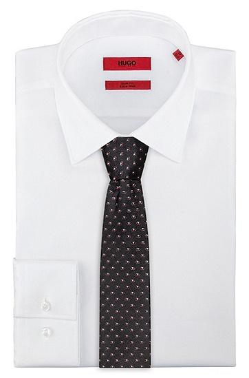 几何图案真丝提花领带,  001_黑色