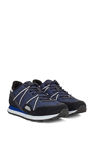 麂皮加织带混合材质运动鞋,  401_暗蓝色
