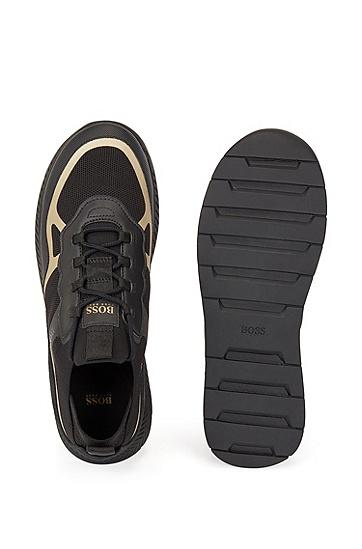 REPREVE® 鞋面热粘合细节套袜运动鞋,  007_黑色