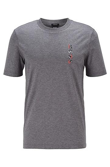 新季徽标艺术图案装饰丝光棉 T 恤,  030_中灰色