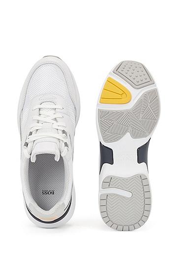 皮革加透气网眼跑鞋风运动鞋,  100_白色