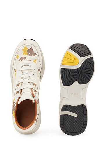 迷彩印花饰边皮革运动鞋,  750_淡黄色