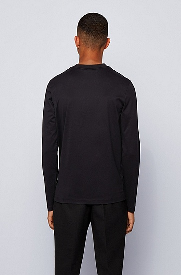 饰以星形和心形图案的丝光棉 T 恤,  001_黑色