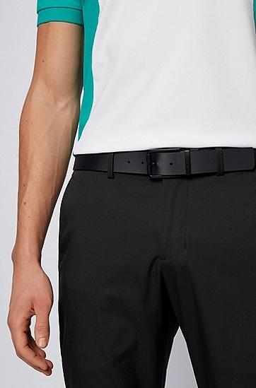 刻印徽标意大利皮革双面腰带,  001_黑色
