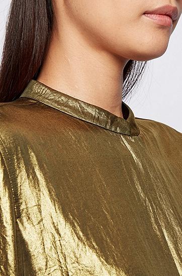 轻盈绉纱面料层压饰面立领女士衬衫,  705_暗黄色