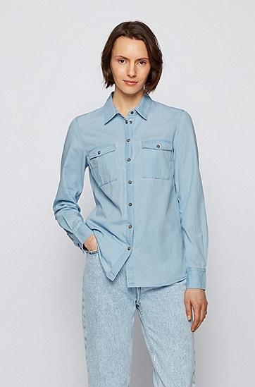 饰以胸袋的常规版水洗牛仔女士衬衫,  451_浅蓝色