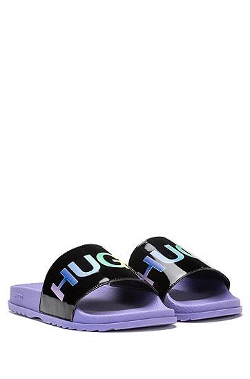 彩色徽标装饰意大利制造拖鞋,  002_黑色