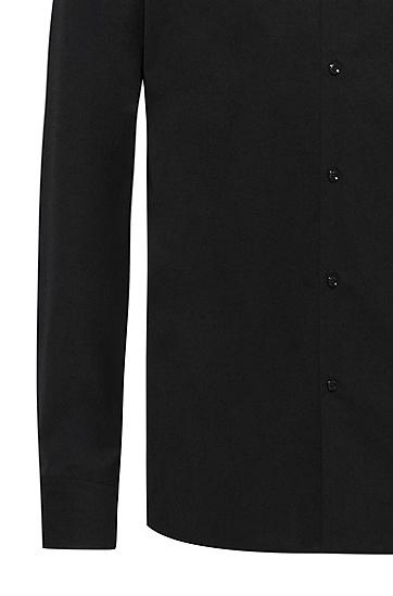 易烫棉府绸修身衬衫,  001_Black