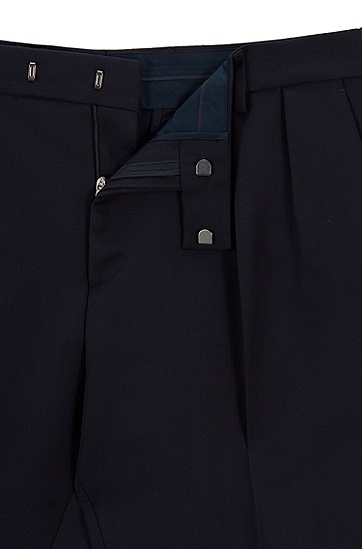 超修身正面打褶长裤,  410_海军蓝色