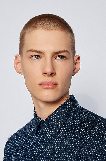弹力亚麻图案装饰修身衬衫,  402_暗蓝色