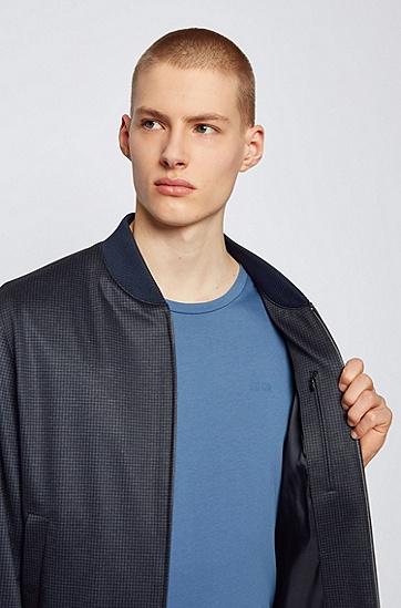 立领微图案修身夹克,  402_暗蓝色