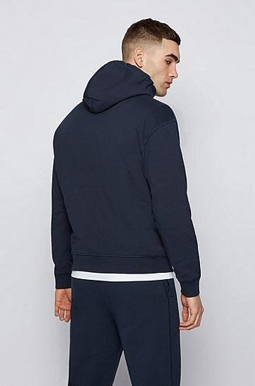 RUSSELL联名徽标图案装饰宽松版型中性连帽衫,  404_Dark Blue