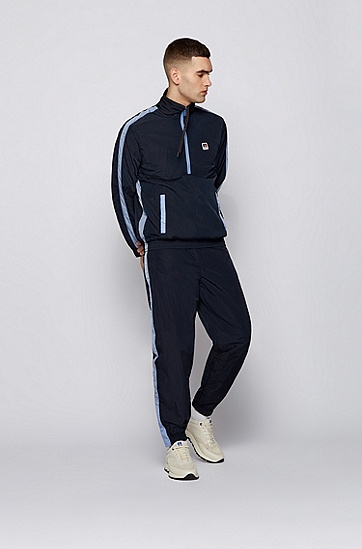 RUSSELL联名撞色饰边和专属徽标图案的拉链领运动衫,  404_Dark Blue