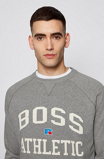 RUSSELL联名图案装饰宽松版型中性运动衫,  034_Medium Grey