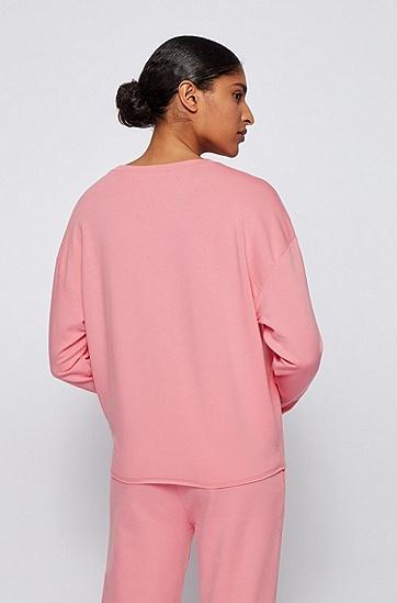 饰以徽标细节装饰的宽松版轻盈毛圈布运动衫,  681_浅粉色