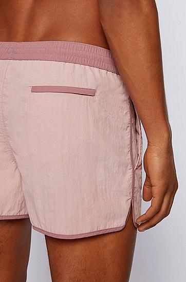RUSSELL联名徽标图案装饰速干短款游泳裤,  690_Open Pink