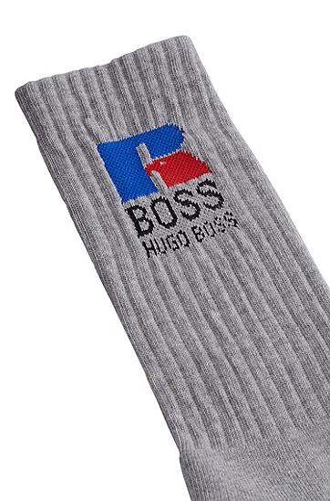 RUSSELL联名专属徽标图案装饰弹性面料短袜,  040_Silver
