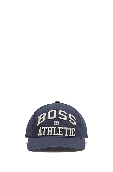 RUSSELL联名专属刺绣徽标图案装饰棉质斜纹布鸭舌帽,  404_Dark Blue