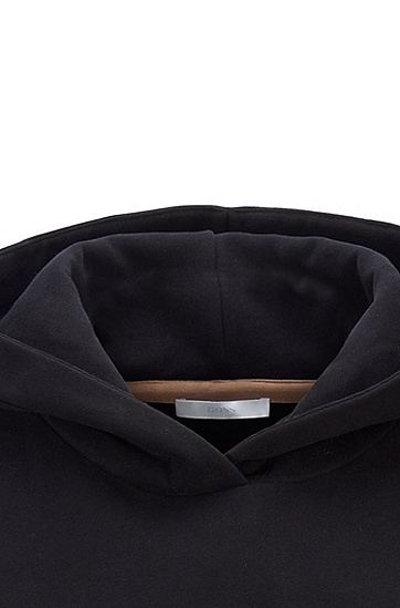 胸前饰有品牌徽标的常规版法国毛圈布连帽衫,  001_黑色