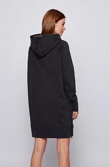 长款宽松版法国毛圈布连帽衫,  001_黑色