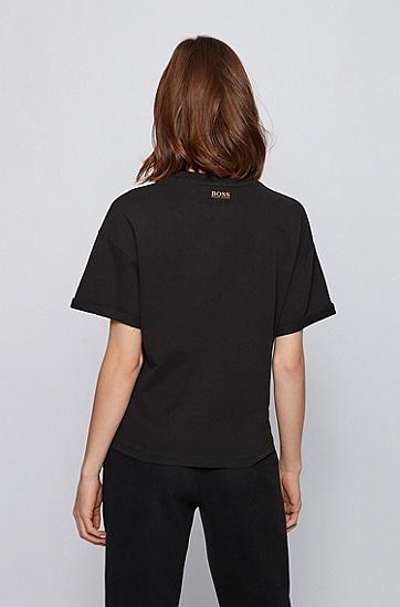 胸前饰有标语的宽松版 T 恤,  001_黑色