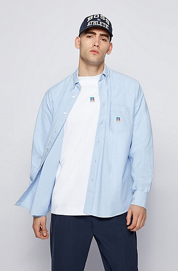 RUSSELL联名专属徽标图案装饰宽松版型牛津棉衬衫,  492_Open Blue