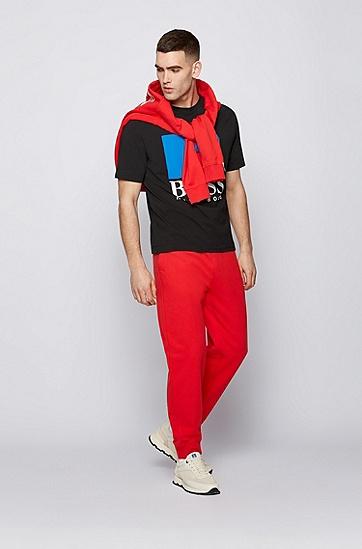 RUSSELL联名徽标图案装饰宽松版型中性弹力棉 T 恤,  001_Black