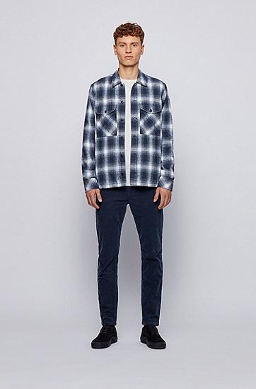 长袖宽格休闲衬衫,  405_暗蓝色