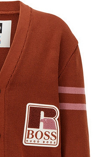 RUSSELL联名徽标图案装饰宽松版型棉质中性开衫,  247_Open Brown