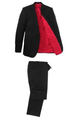 Slim-fit kostuum 'Aiko/Heise' van scheerwol, Zwart